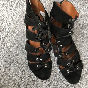 Lucky brand black lace up heeled sandals.